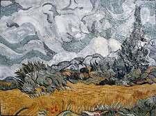 "64""x 48"" Van Gogh Wheatfield with Cypresses Handmade Marble Mosaic Art Stone"