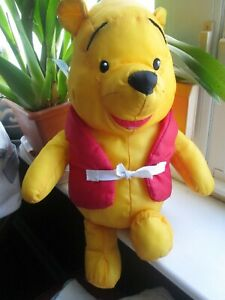 "Disney Winnie Pooh Bear Stuffed Animal Waterproof Polyester Red Life Vest 12"" VG"