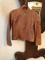 Wilsons Leather Maxima Women's Tan  Motorcycle Racer Jacket Size M