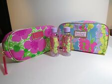 NEW Lot Of 2 FLOWER Estee Lauder Lilly Pulitzer Cosmetic Bag 2 Travel Bottle