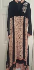 black & peach asian party maxi dress size 12