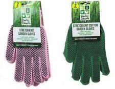 2 Pairs Super Comfort Stretch Garden Gardener Pink Green Gloves With Dot Grip