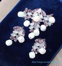 Vintage HIGH END Purple Rhinestone Iridescent Dangle Beads Pin & Earrings Set