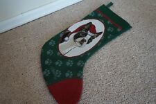 Christmas Stocking Boston Terrier Puppy Dog Tapestry Picken Red Green Paw Prints