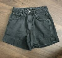 LADIES ZARA TRAFALUC EUR 36 W28 SIZE 8 BLACK DENIM JEAN SHORTS