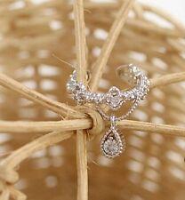 Small Silver Earrings Rhinestone Diamanté Earring Ear Cuff Tear Crystal Drop