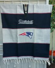Mexican football handmade poncho New England Patriots unisex Blue and Gray color