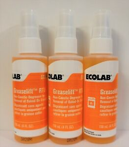 Ecolab Greaselift Non-Caustic Degreaser - 3 Pack RTU 4oz Spray Bottles 6100319