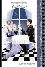 Art Deco ~ Feliz Aniversario MARIDO ~ Grande De Lujo Tarjeta Felicitación
