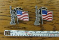 2 The Statue of Liberty Us U.S. Flag Lapel Pins Usa America American
