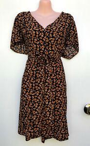 CITY CHIC Orange & Black Floral Viscose A-Line Front Button Tie Waist Dress S/16