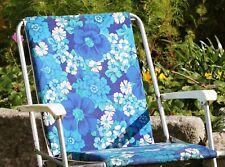 Chaise pliante de camping vintage tissu fleurs bleues