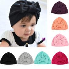 Infant Baby Kids Stretchy Turban Hats Cute Bowknot Beanie Caps Hair Head Wrap