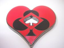 Heart Shaped Black Red Cutout Card Guard Poker Hand Protector Metal NEW