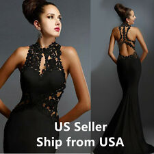 Womens Evening Dress Mermaid Lace ball gown coaktail formal Prom Black Size 6