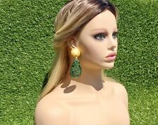 Vintage Oval Bead Tassel Bohemian Large Oversize Long Statement Earrings