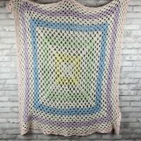 "Crochet Baby Blanket Afghan Pastel 40""x40"" Blue Purple Pink Green Yellow"
