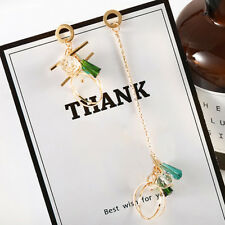 Korean Fashion Geometric Long Asymmetric Earring Rhinestone Circle Earring G