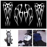 Waterproof White Motorcycle ATV Fuel Tank & Fender Flame Vinyl Decal Sticker Kit