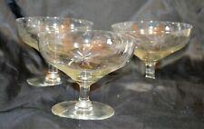 Vintage Trio Glass Sherbet Glasses, Starburst, Stemmed Dessert Glasses, Cups