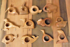 12 Vintage Wood Napkin Rings Set Holders Hand Carved Wooden Animals Fish Birds