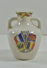 VINTAGE CRESTED WARE - S.HANCOCK & SONS - 1914 EUROPEAN WAR TWO HANDLED VASE