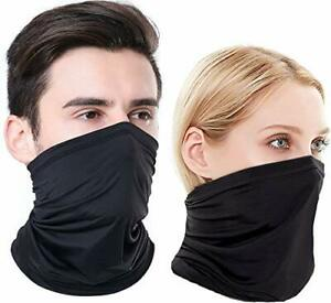 Neck Gaiter Face Cover Scarf Gator Sports Breathable Face Mask (3-pack/Black)