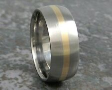 9mm Wide Titanium & Yellow Gold Custom Made Wedding Band Mens Made to ANY Sizing