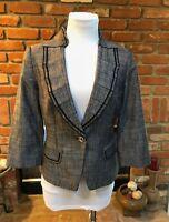 White House Black Market Dressy Black and Gray Crop Tailored Blazer Jacket sz 4