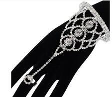 Bridal Silver clear CZ Rhinestone Bracelet Slave /Cuff, Attached Ring Set formal