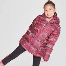 Girls' Striped Puffer Jacket by C9 Champion Pink XS 4/5 NWT