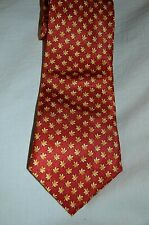 Dunhill ~London Classic Elegant Red Floral Print 100% Silk Tie