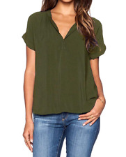 LILBETTER Women Chiffon Blouse V Neck Short Sleeve Top , Army Green, Size XL/16