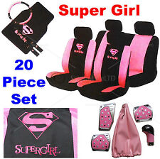 20 Piece Supergirl Pink Car Seat Steering Wheel Covers Mats Gear Knob Pedal set