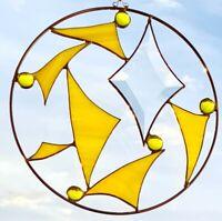 Sonnenfänger gelb, Tiffany Fensterbild, Facettenschliff,  20cm Durchmesser