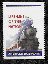 1940's Life-Line of the Nation American Railroads Poster Stamp O.G.