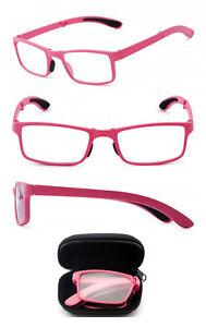 Square Fame Foldable Readers in Portable Nylon Zip Cases Folding Reading Glasses