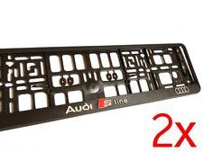 2x Black 3D AUDI S LINE European Euro License Number Plate Holder Frame German