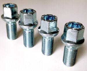 wheel bolts nuts lugs M14 x 1.5 17mm Hex 27mm thread Radius seat. VW x 4