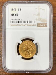 1895 NGC MS62 $5 LIBERTY HEAD GOLD