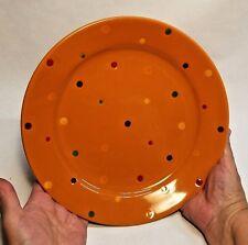 "Lot of 2 Temp-Tations by Tara ""Polka Dot"" Dinner Plates, Orange 10.5"" Oven-Safe"