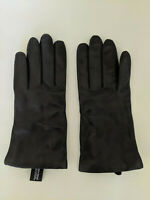 LORD & TAYLOR NORDSTROM Women's Black Leather Gloves-Cashmere Lined-Size 8