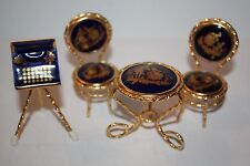 Set of 4 Pieces of Limoges France Miniature Table and Chairs and Typewriter