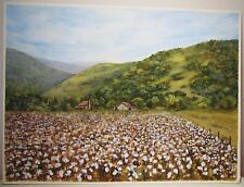 """17""""x12"""" Cotton Field Original Painting By J. Hutson Southern Mountains"""
