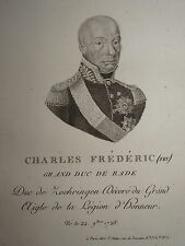 Gravure Portrait GRAND DUC Karl Friedrich BADEN BADE NAPOLEON Epoque EMPIRE 1810