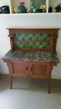 Antique Australian Early 1900's Marble Top & Tile Back Wash Stand