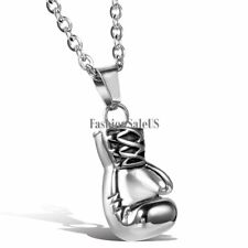"Silver Tone Stainless Steel Boxing Glove Pendant  Men's Cool Necklace 22"" Chain"