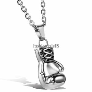 """Men's Silver Tone Stainless Steel Boxing Glove Pendant  Cool  22"""" Chain Necklace"""