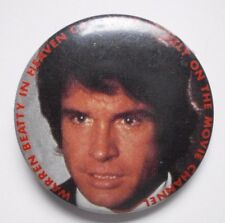 "Vintage Pinback Button WARREN BEATTY in HEAVEN CAN WAIT 1.5"" Movie Channel TV"