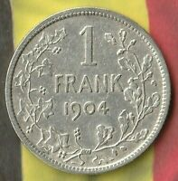 1904 1 Belgium Frank~ Beauty~ 83.5% Silver- Only 803,000 Minted
